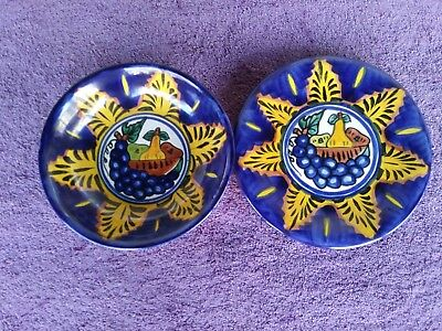 """Amora Mexican Mexico Pottery Handpainted Fruit Bowl 8"""" Salad Plate 7.5"""" Signed"""