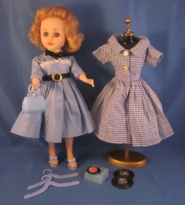 "Vintage American Character 10.5""  TONI Doll with 2 Outfits & Dress Form"
