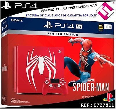 Ps4 Playstation 4 Pro 1Tb Red Marvel´s Spiderman Game Control Edition Cuh-7116B
