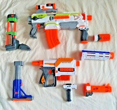 Nerf Gun Lot of 2 Guns and Accessories Recon MKII Blaster ECS-10 Modulus