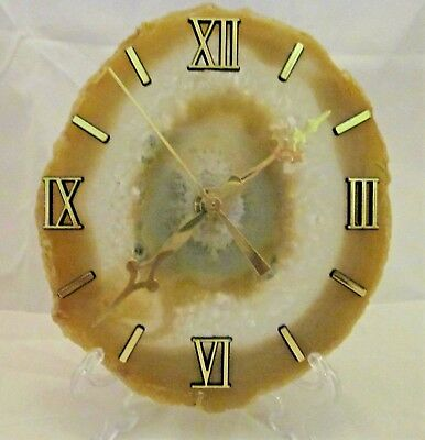 "Tan & Clear Agate Quartz Clock 5""x 6"" Oval w/ stand wall hook mount & battery"