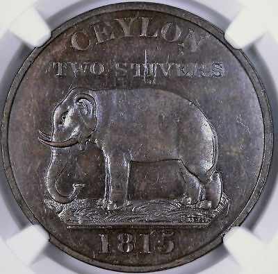 1815 Ceylon 2 Stivers No Rose Elephant - NGC MS61BN 4494706-013