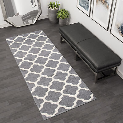 Gray & White New Extra Long Wide Narrow Hallway Runner Top Rugs Trellis Pattern