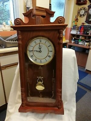 (297) Wooden Long Case Wall Clock Made By Acctim With Westminster Chimes And Qua
