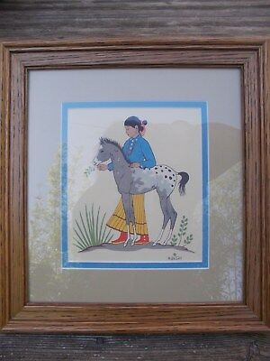 H.BEGAY,Navajo Artist  Silk Screen,GIRL WITH COLT,10 IN.X 11 IN. PRO. FRAMED