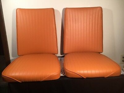 Vintage Replacement Cushions Pads Kitchen Dinette Chairs 2 Sets Pumpkin Color