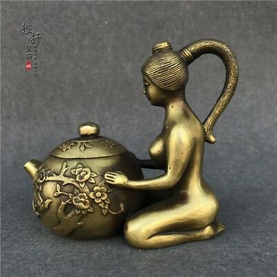 China Antique Brass Handmade Nude Beauty Plum Blossed Winepot Teapot