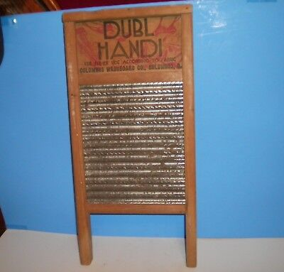 "VINTAGE ANTIQUE DUBL HANDI COLUMBUS WASHBOARD CO TRAVEL SIZE 8 5/8"" x 18"""