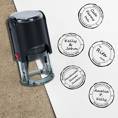 Custom Monogram Stamp-Delicate Round Self Inking Rubber Stamps-4 Ink Colors