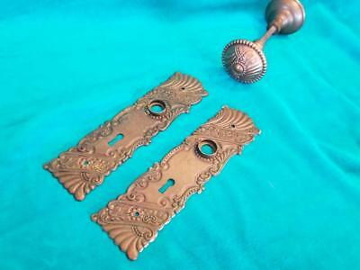 PAIR Vintage Antique Copper or Copper Finished Brass Back Plates & Door Knobs