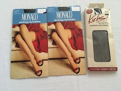 VINTAGE KOLOTEX 3 PAIRS 15 DENIER BLACK STOCKINGS size 9.5 - 10 new