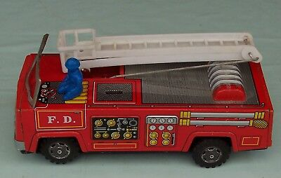 Early Tin Yanoman Toys Fire Engine. Made In Japan. suitable for parts