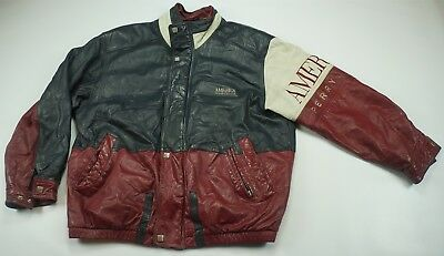 1415ef0139 Rare Vintage PERRY ELLIS America Spell Out Leather Varsity Bomber Jacket  90s L