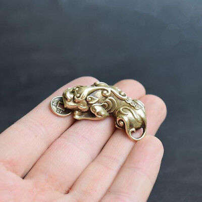 Chinese Old Collectibles Pure brass God beast pixiu small pendant Gifts Fashion