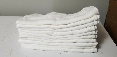 ☆Lot of 10 Vintage White Cloth Diapers in 100% perfect condition ☆Same day ship!