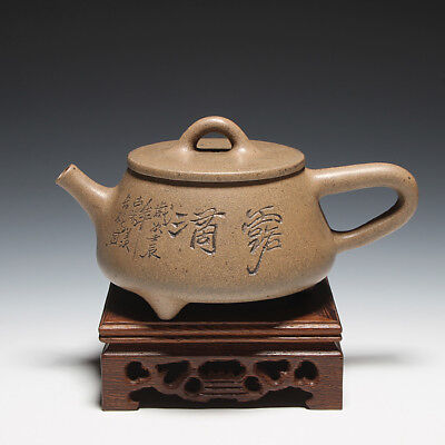 "OldZiSha-Famed China Yixing Zisha Pottery Old 280cc ""Half Gourd"" Teapot,1950'"