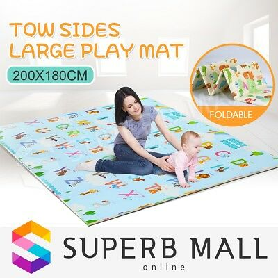 ABST 200X180CM Baby Play Mat Playmat Crawling Double Sides W/Animal & Alphabet