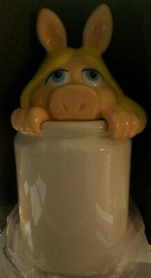 """vintage new muppets miss piggy cookie jar kitchen canister collectible 11"""" tall"""