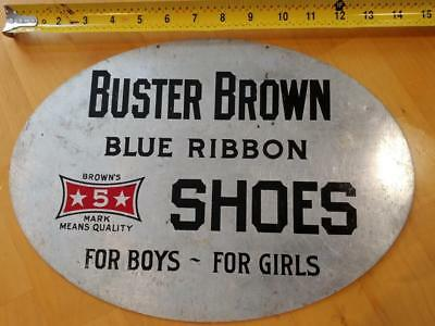 EARLY 1900s VINTAGE BUSTER BROWN SHOES DEBOSSED ALUMINUM LITHO SIGN-10x14-NICE!!