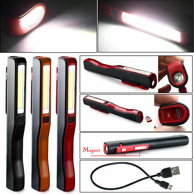 Portable COB LED Rechargeable Magnetic Pen Clip Hand Torch Work Light Lamp Great