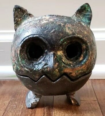 Vintage Japanese Cast Iron Owl Incense Burner Sculpture Metal Patina 2 Piece