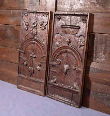 "18"" Tall Pair of French Antique Deeply Carved Oak Wood Panels"