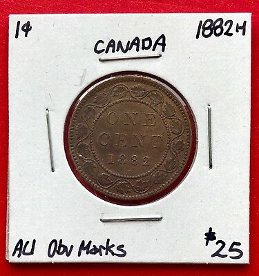 1882 H Canada Large One Cent Penny Coin - $25 AU Obv Marks