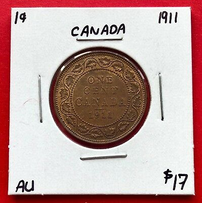 1911 Canada Large One Cent Penny Coin - $17 AU