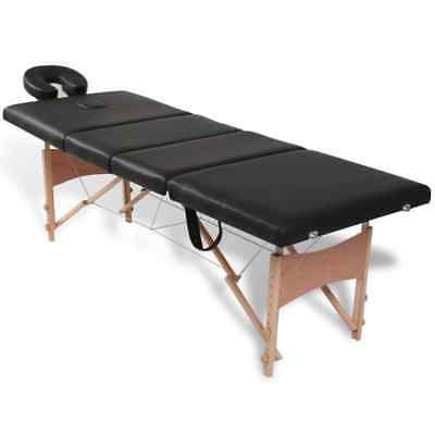 4-Section PU Portable Massage Table Black Spa Facial Tattoo Pad Bed w/ Carry Bag
