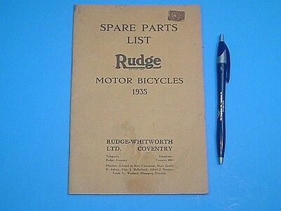 Original Vintage 1935 Rudge Motor Bicycle Spare Parts List Catalog 24 Pages