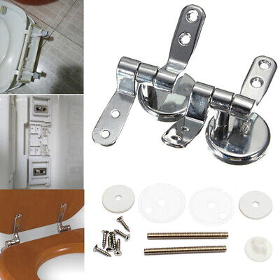 Pair of Replacement Chrome Toilet Seat Hinges | Includes fittings & fixings