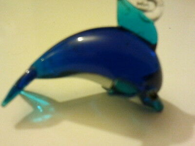 Miniature Glass blue & white dolphin figurine with hook for pendant or charm