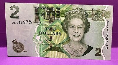 FIJI  $2 Old Paper Notes  - ERII Head of state 2 different profiles  both aUNC