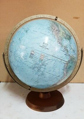 Vintage Readers Digest Replogle World Globe Metal Holder Timber Base Exc. Cond.