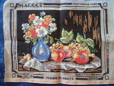 WORKED TAPESTRY CANVAS FLEURS ET FRUITS Made in France  40 cms X 29 cms