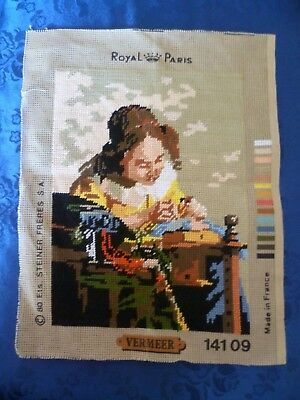 WORKED TAPESTRY CANVAS LADY WORKING  VERMEER  Made in France  38 cms X 29 cms