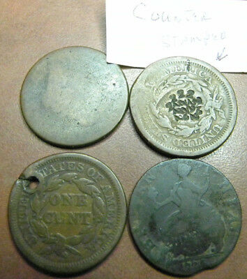 4 Rough Coins - 3  Large Cents - I Quarter- As Is