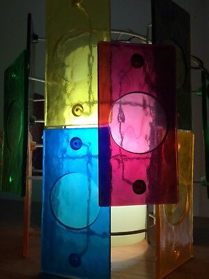 1950's / 1960's MID CENTURY Stained glass Eames hanging LAMP chandelier