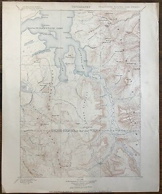 Antique Vtg Topographic Map Yellowstone US Geological Survey 1906