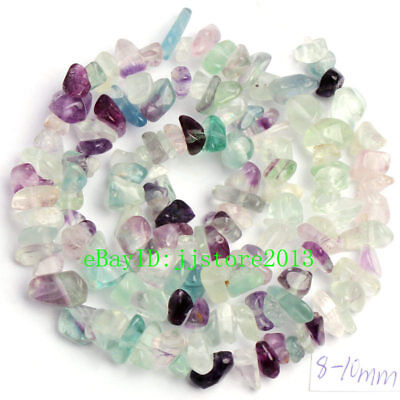 6-8mm Natural Color Fluorite Freeform Gravel DIY Gemstone Loose Beads Strand 16""