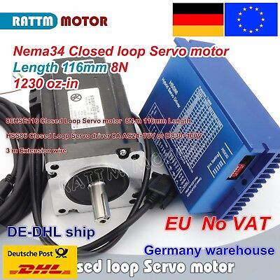 【DE Ship】 Nema34 8N.m Closed Loop Servo Motor 116mm+HSS86 6A 70V Driver CNC Kit