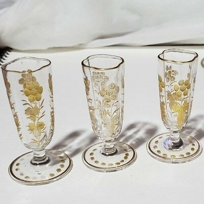 2 fine crystal liquors antique bar ware 2 oz Glasses aperitif SHOT etched gold