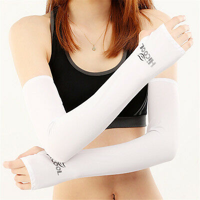Cool UV Sun Protection Arm Cooling Sleeves Gloves Golf Bike Cycling Sport