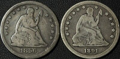 Lot of 2 Seated Liberty Silver Quarters - 1856 O & 1891