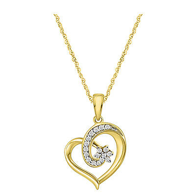 "Round Diamond Heart Pendant Necklace 18"" Chain 14k Gold Over 925 Sterling Silver"