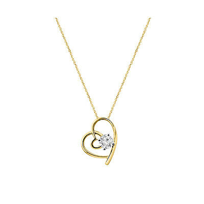"14k Yellow Gold Over 925 Sterling Silver Round Diamond Heart Pendant 18"" Chain"