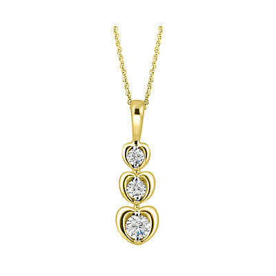 14K Yellow Gold Over 925 Sterling Silver Round Diamond journey Pendant Necklace
