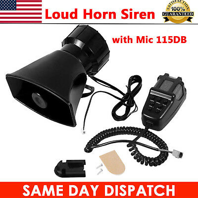 12V 7 Tone Sound Car Police Siren Horn + Mic PA Speaker System Fire Alarm Loud