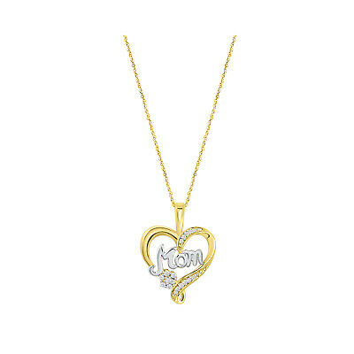 Mom Heart Round Diamond Pendant Necklace 14K Yellow Gold Over Sterling Silver