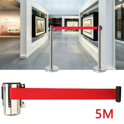 5M Belt Stanchion Queue Barrier Post Wall Mount Retractable Ribbon Crowd Control